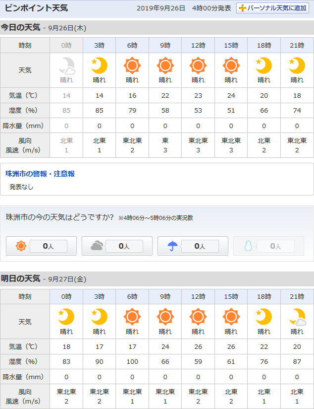 9/26天気予報